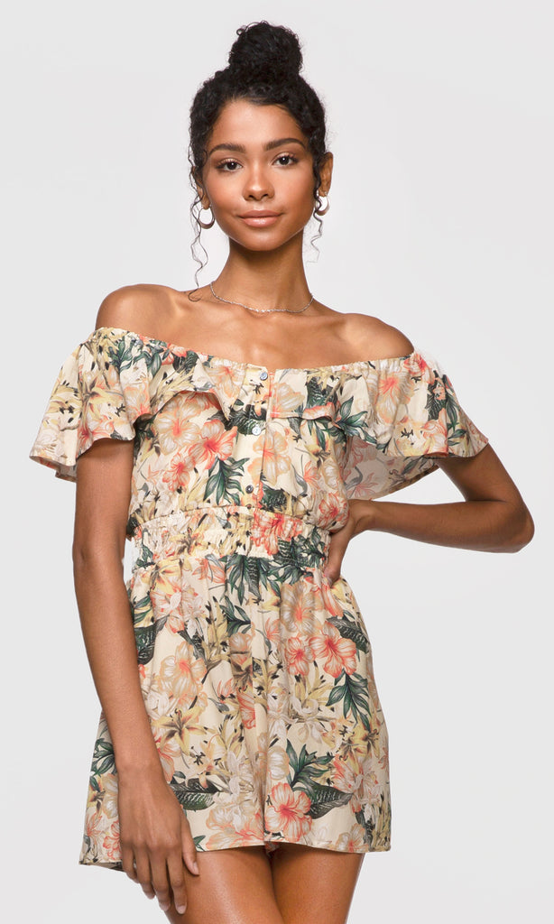 Kinsley off-shoulder ruffle romper