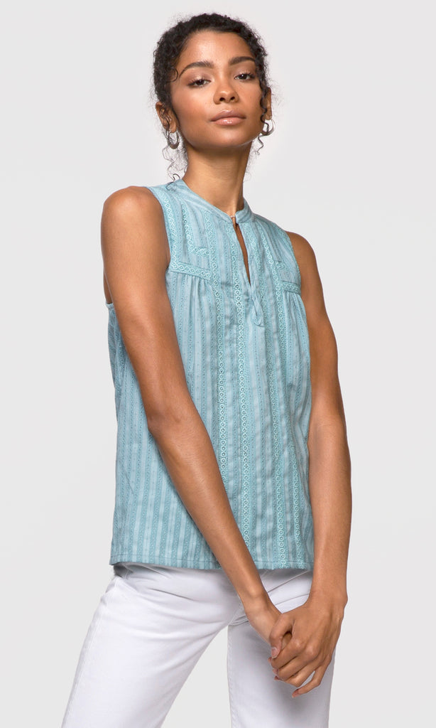 women's blue sleeveless top