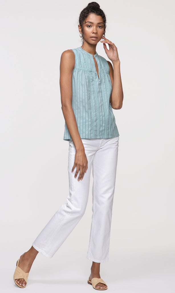 sleeveless blue stripe top