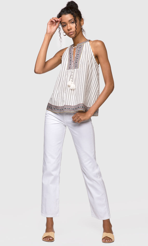 stripe halter top with tassels