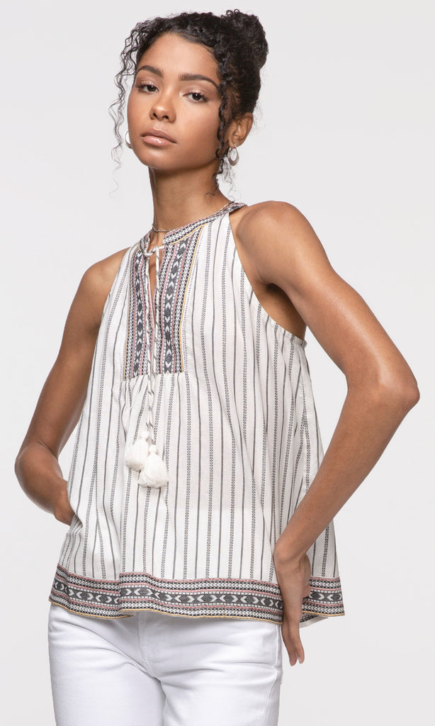 white split neck tassel tank