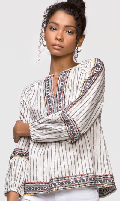 women's white stripe long sleeve shirt