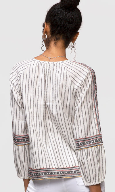 women's long sleeve white stripe top