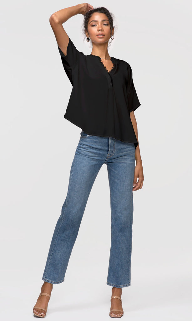 Frayed neckline button up shirt black