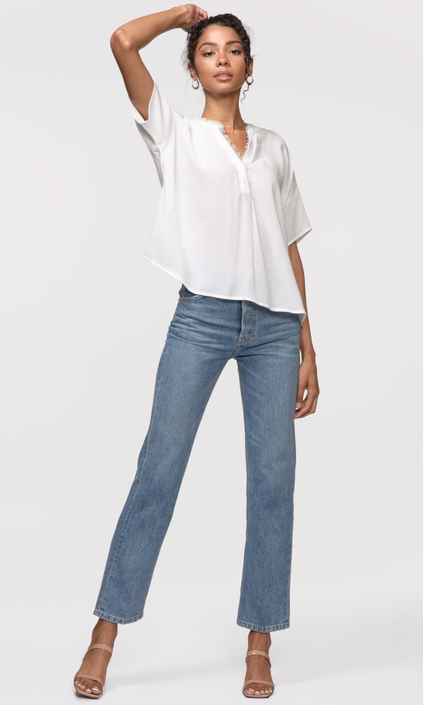 white frayed edge button up shirt