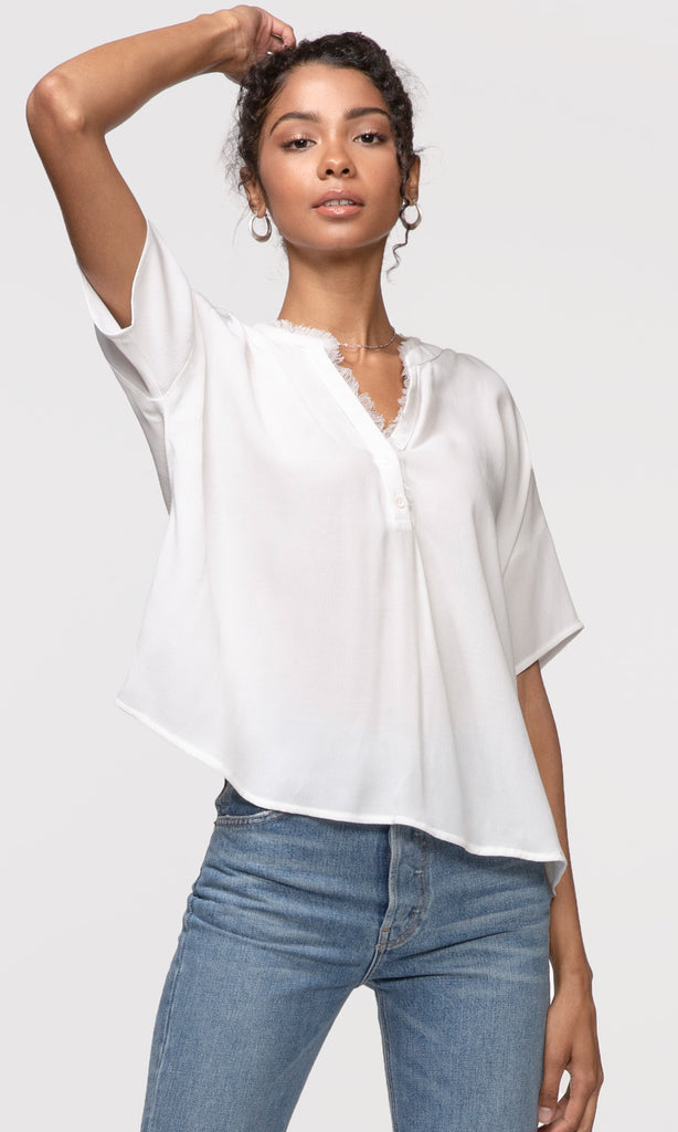 women's white frayed edge top