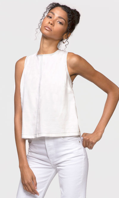 women's white sleeveless top