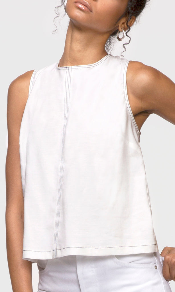 white contrast stitch sleeveless top