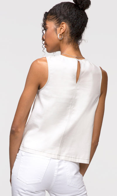 women's white contrast stitch tank