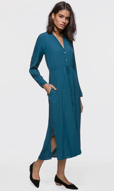 women's teal maxi button up tie waist dress with a slit