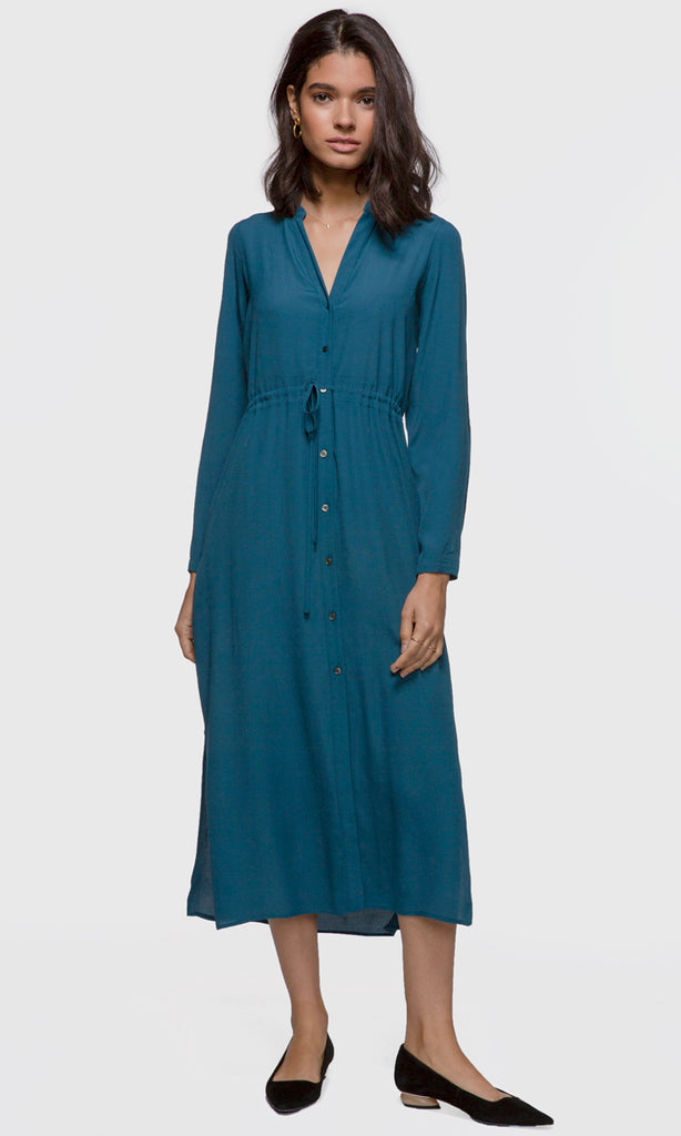 women's blue maxi dress with slits