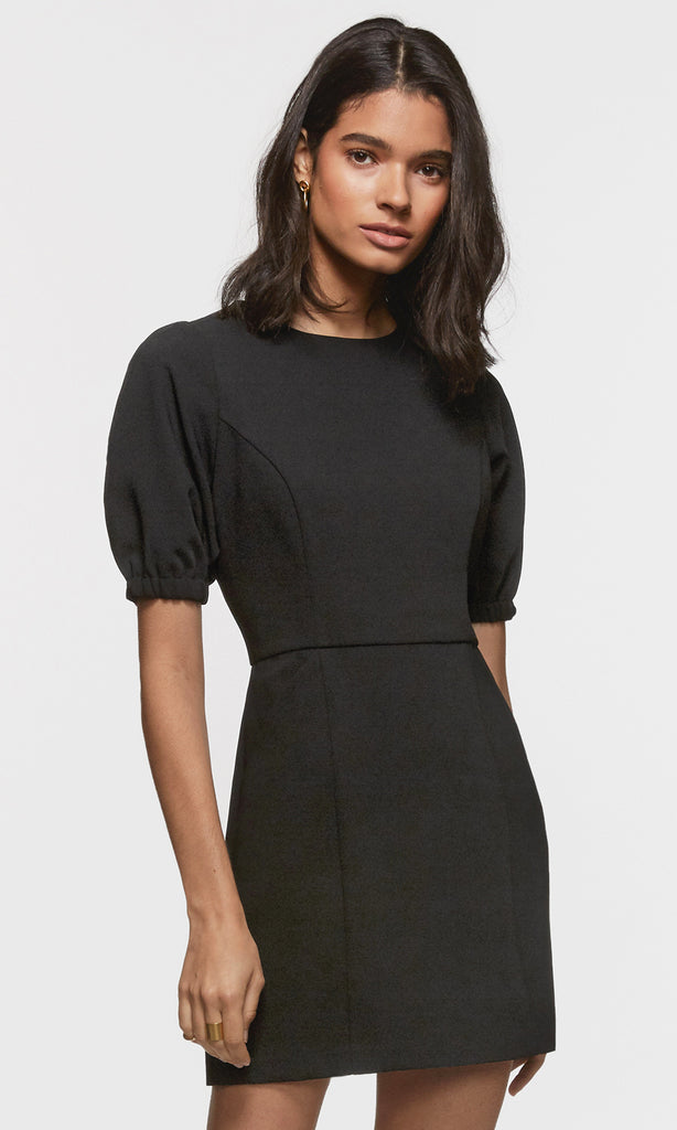 black mini dress with puffy sleeve
