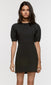 Womens black pouf sleeve mini dress puffy sleeve