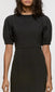 womens black tight mini dress pouf sleeve