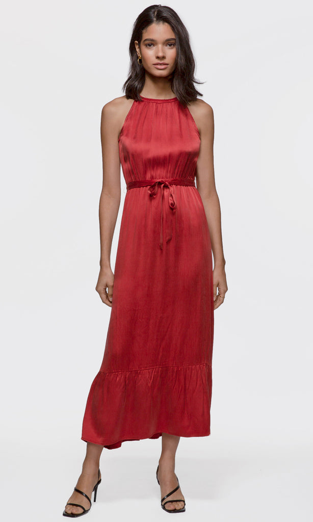 Women's red halter tie-waist maxi dress