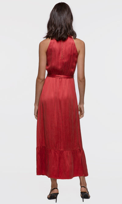 women's bright red maxi dress tie waist