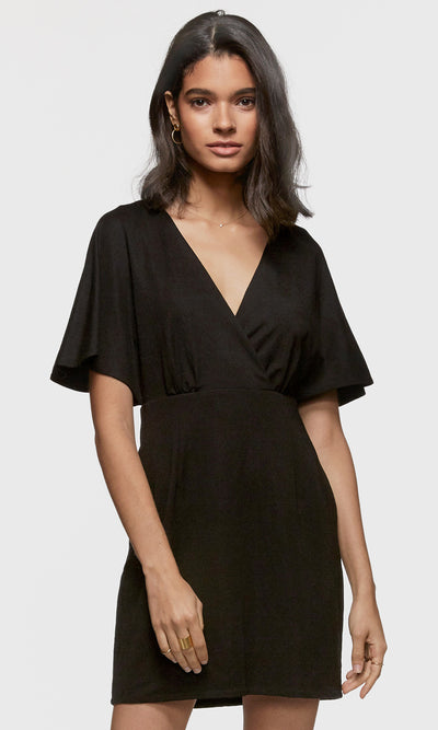 Women's black v-neck ponti stretch mini dress