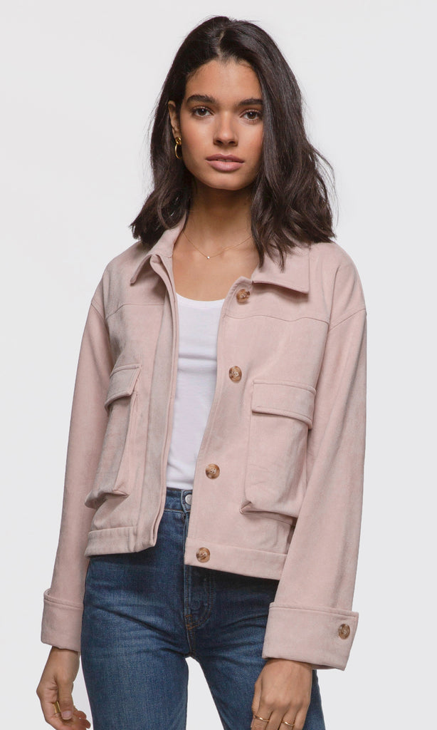 women's pink button up vegan suede jacket