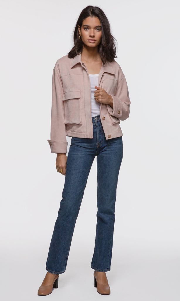 women's city chic pink suede crop jacket