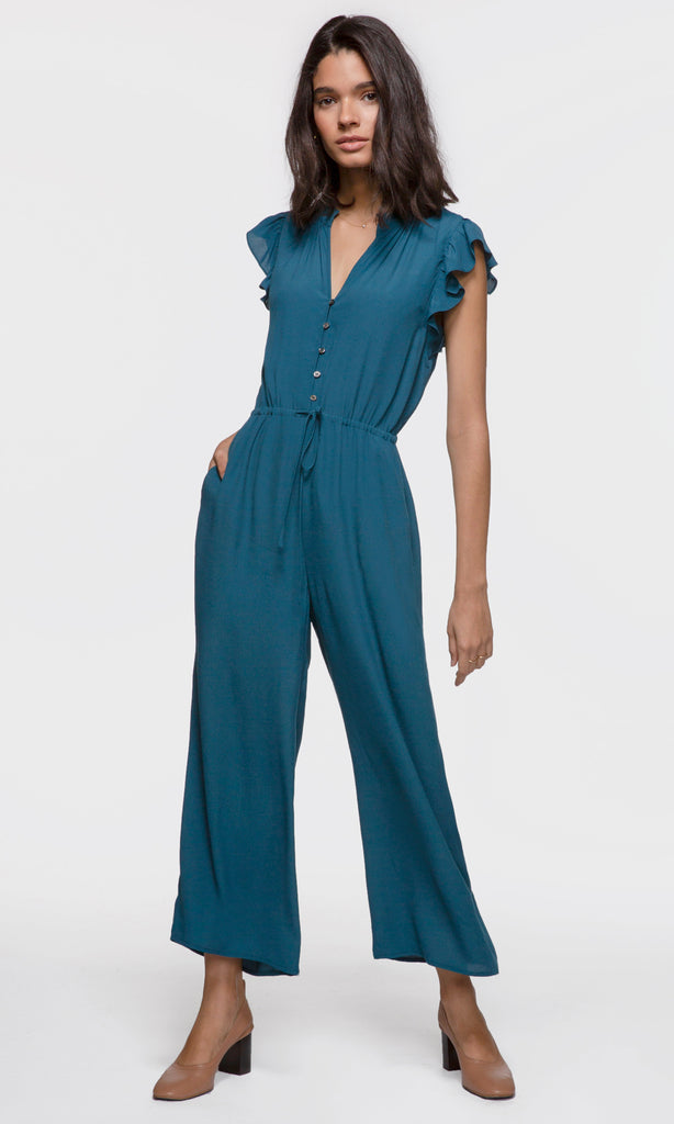 Women's wide legged teal button up tie waist jumpsuit