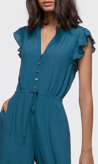 Women's blue ruffle jumpsuit