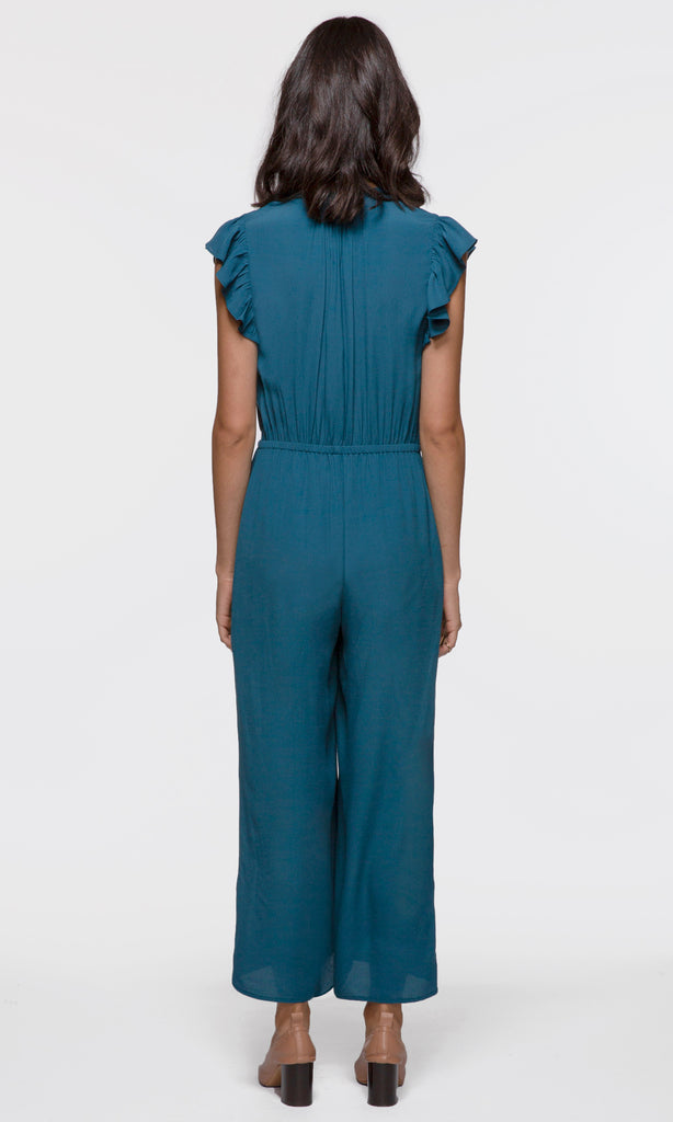 blue light weigh classy jumpsuit with ruffle sleeves