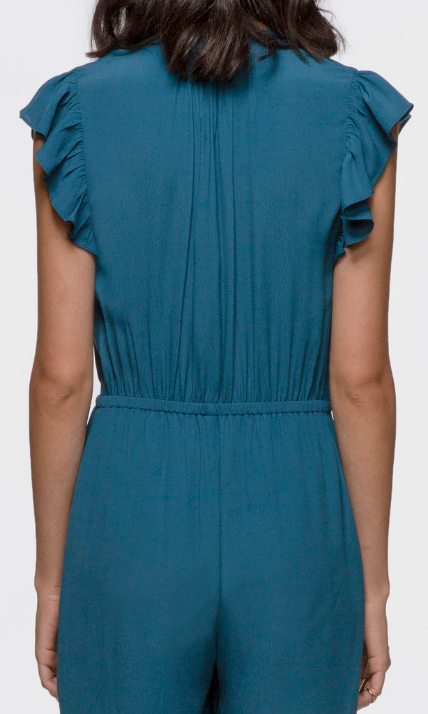 blue ruffle sleeve jumpsuit