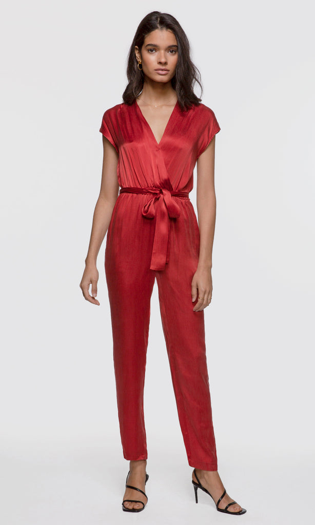 women's bright red jumpsuit