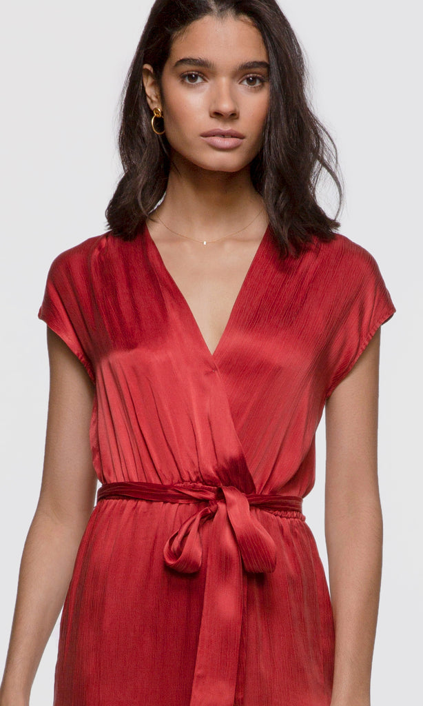 bright red wrap tie jumpsuit