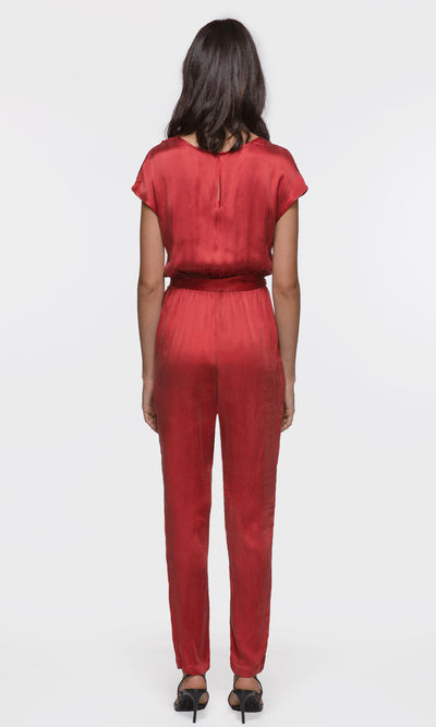 women's red wrap tie jumpsuit