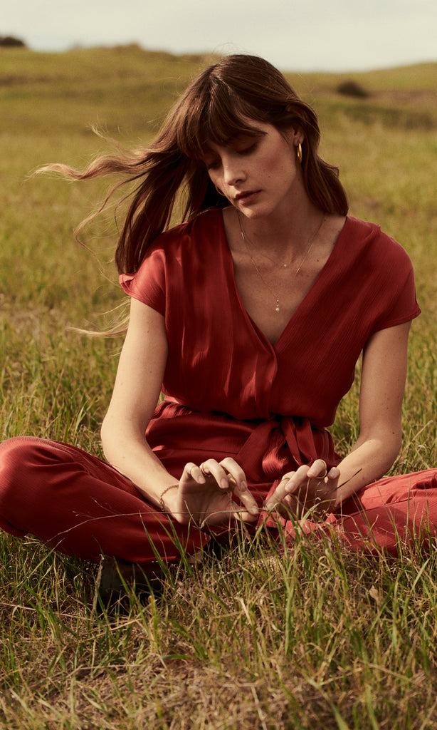 women's red chic and comfortable jumpsuit