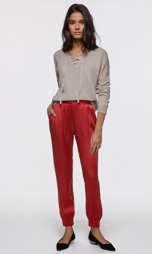 Women's red relaxed fit joggers