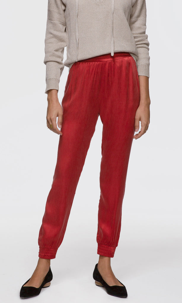 women's comfortable red joggers pants loungewear