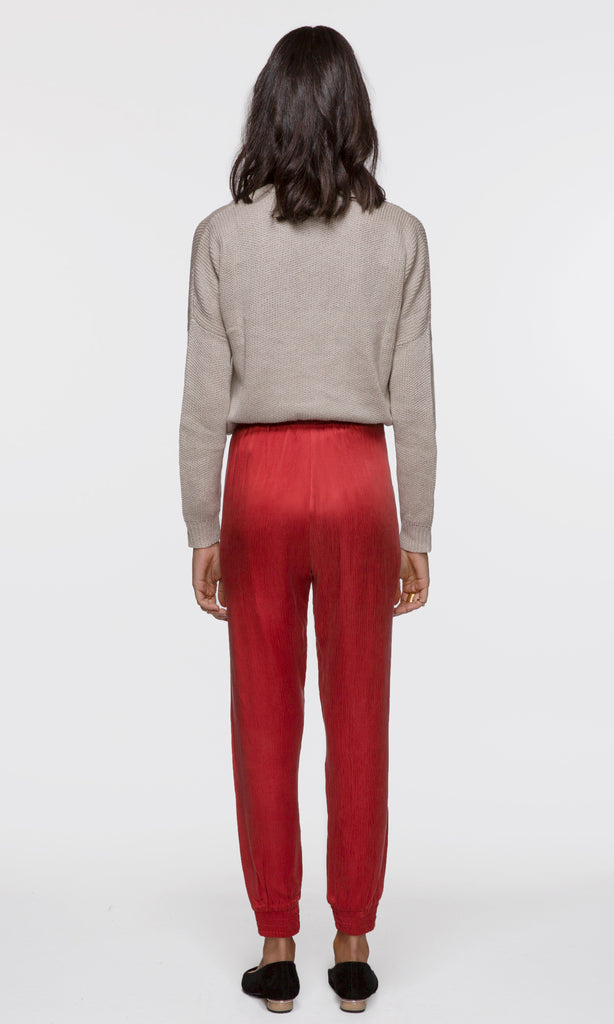 bright red slouchy jogger pants