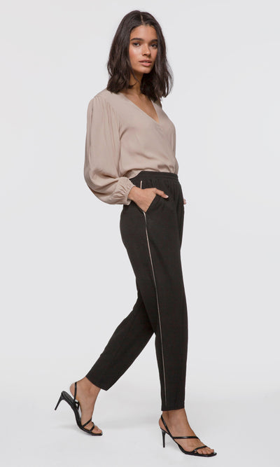 Women's black stretch track pants