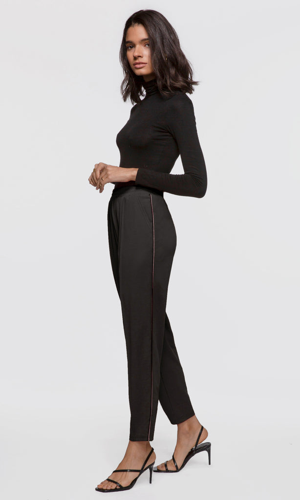 womens black pants with side hem detail