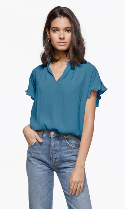 Josie Short Sleeve Flutter Top