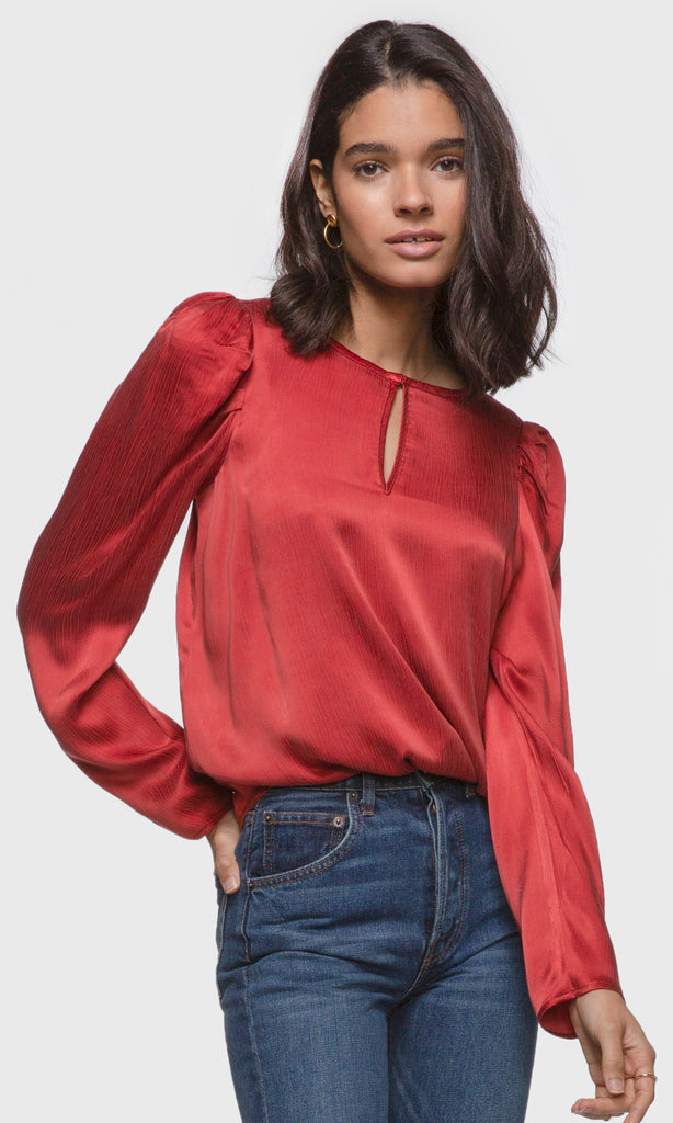 Women's red pouf long sleeve keyhole blouse