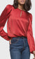Women's red puffy long sleeve keyhole blouse