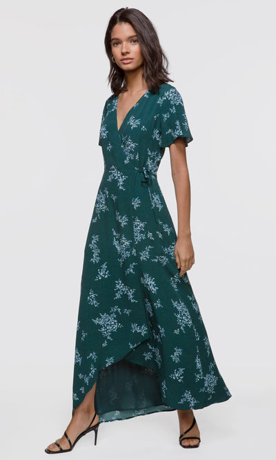 Women's green floral wrap maxi dress