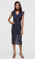 Women's navy flutter sleeve lace pencil midi dress