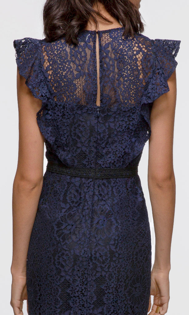 Juniper Flutter Sleeve Lace Pencil Dress