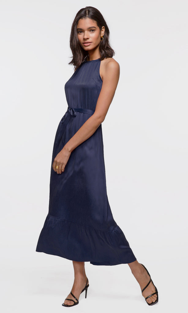 Women's navy halter tie waist maxi dress