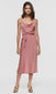 Women's rose cami tie waist cowl neck slip dress