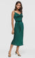Women's green cami tie waist cowl neck slip dress