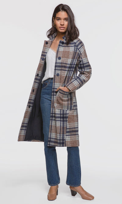 Women's grey plaid button up coat