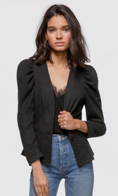 Women's black pouf sleeve corduroy stretch blazer
