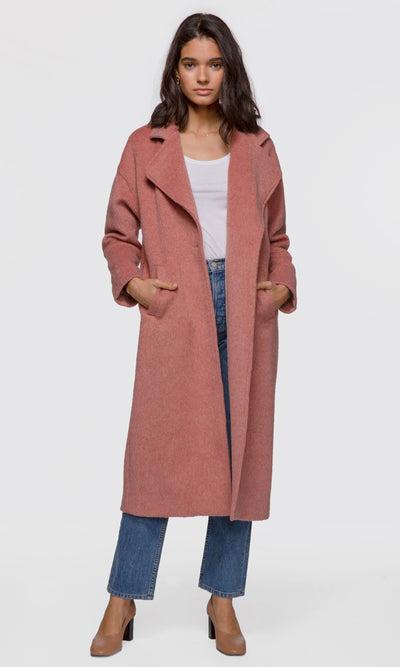 Women's rose brushed viscose fuzzy coat