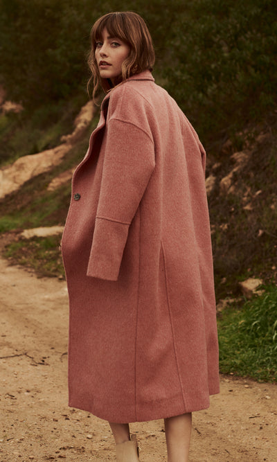 Long pink winter coat women