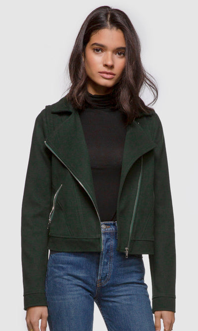 Women's green brushed boucle moto jacket